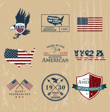 america design elements flag eagle shield texts icons