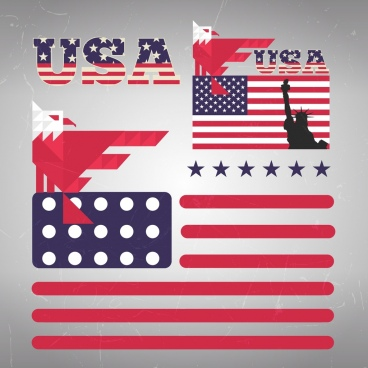 america design elements text flag eagle stars icons