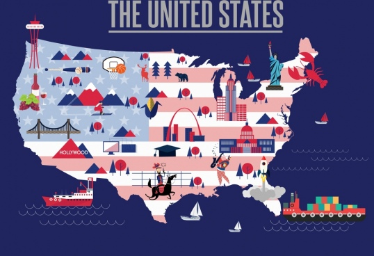 america geography background map location symbols decor