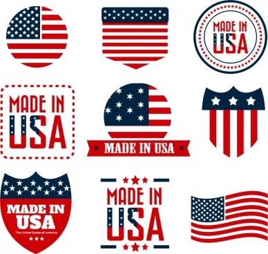 america labels collection colorful flags decoration