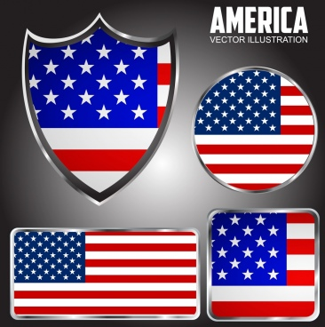 america labels collection flag backdrop geometric design
