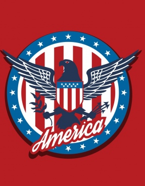 america logotype red stripes eagle stars text decoration