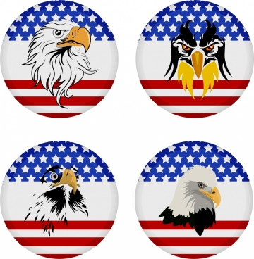 america medal template flag eagle decoration