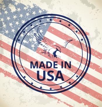 america stamp template flag eagle decor retro design