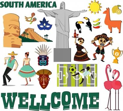 america travel design elements national symbols icons