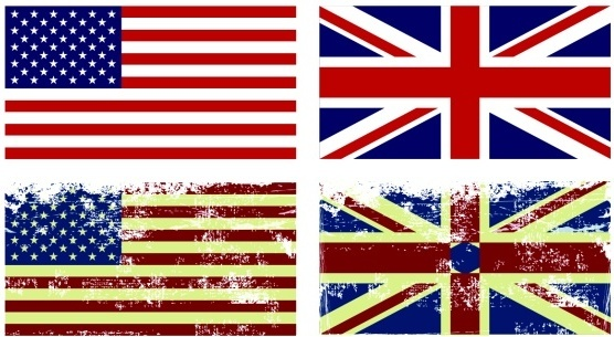 american and british flag vintage vector