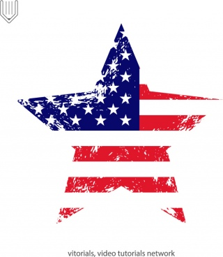american flag with grunge texture in star shape