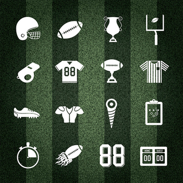 american football collection on striped background