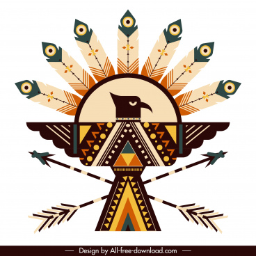 american indian symbol icon symmetric eagle feather arrows