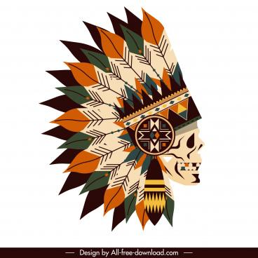 american tribal hat icon skull feather decor