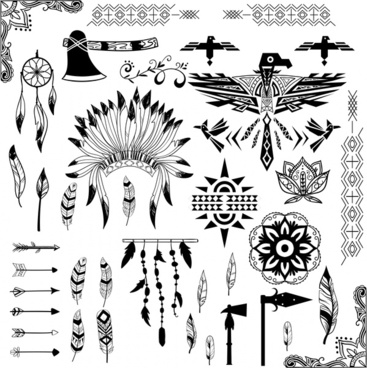 american tribe symbols design in black and white