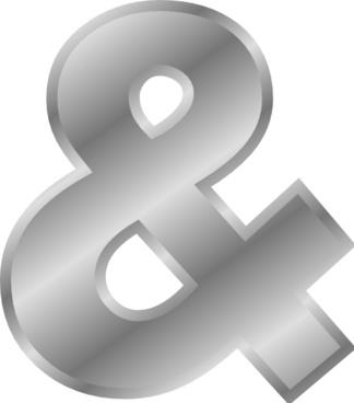 Ampersand Effect Letters Alphabet Silver  clip art