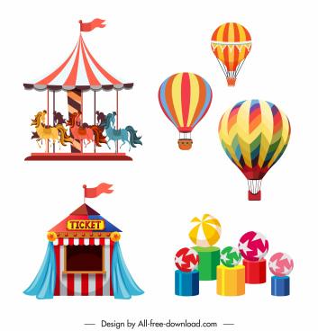 amusement design elemnets circus balloon games sketch