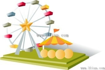 amusement park big wheel vector