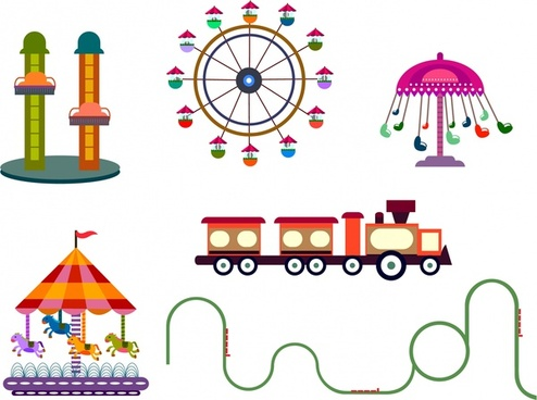 amusement park design elements various games sketch
