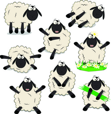 amusing black sheeps vector