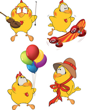 amusing cartoon birds vector design