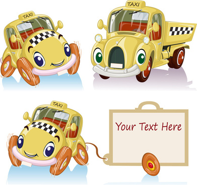 amusing cartoon cars creative vector design