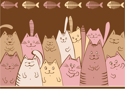 amusing cartoon cats vector design