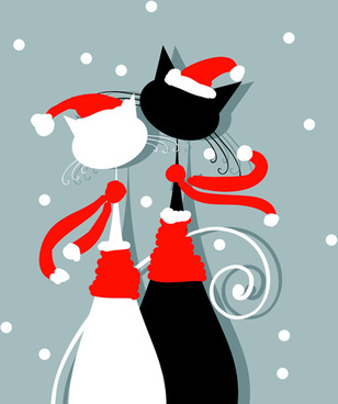 amusing christmas cats vector graphics