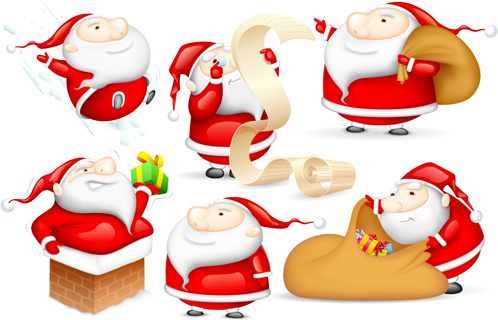 amusing christmas santa claus elements vector set