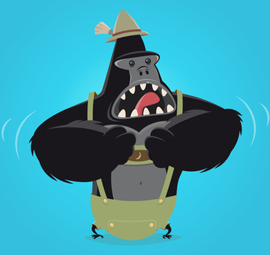 amusing gorilla cartoon styles vector