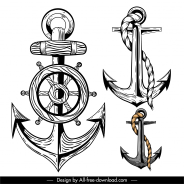 anchor icons classical handdrawn design