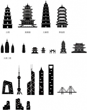 ancient and modern chinese architecture silhouette vector