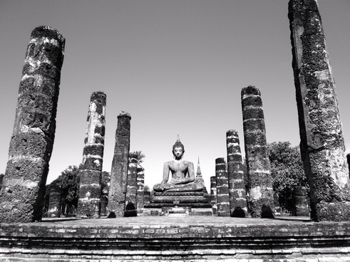 ancient architecture black and white buddhism building