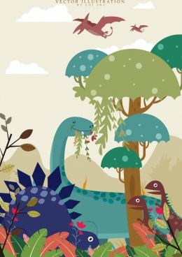 ancient background dinosaur icons multicolored cartoon design
