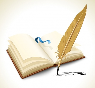education background book feather pen icon 3d design