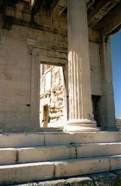 ancient building pillar in rhodos