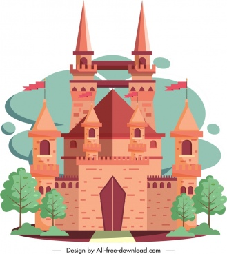 ancient castle icon classical brown design