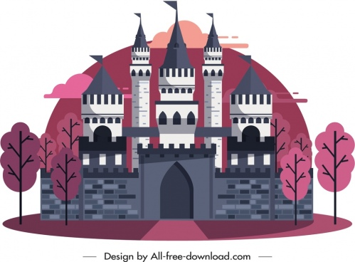 ancient castle painting dark pink grey decor