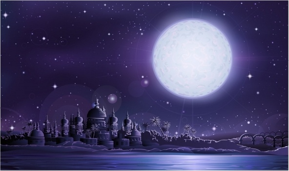 moonlight scene background sparkling dark decor cartoon design
