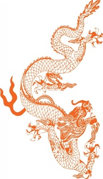 dragon painting classical oriental icon colored sketch