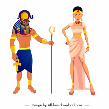 ancient egypt design elements royal personnel cartoon characters