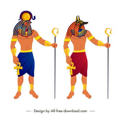 ancient egypt guard icons colorful cartoon character sketch