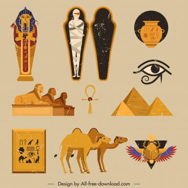 ancient egypt icons colored retro symbols sketch