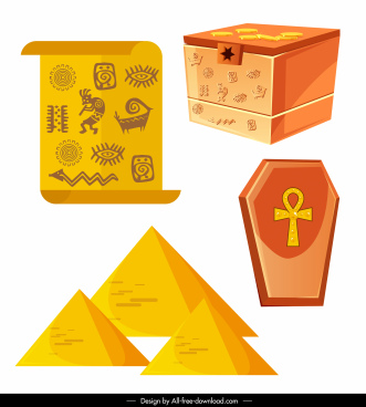 ancient egypt icons map treasure coffin pyramid sketch
