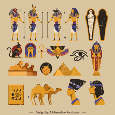 ancient egypt icons retro symbols sketch