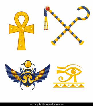 ancient egypt icons shiny colorful symbols sketch