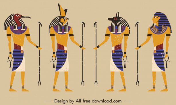 ancient egyptian soldier icons colorful retro sketch
