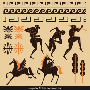 ancient greek decor elements flat dark classic sketch