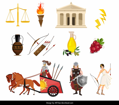 ancient greek design elements colored symbols sketch