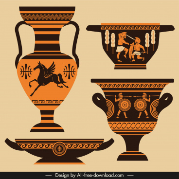 ancient greek design elements elegant retro pottery sketch