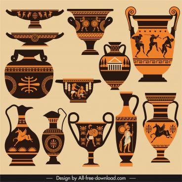 ancient greek design elements retro pottery sketch