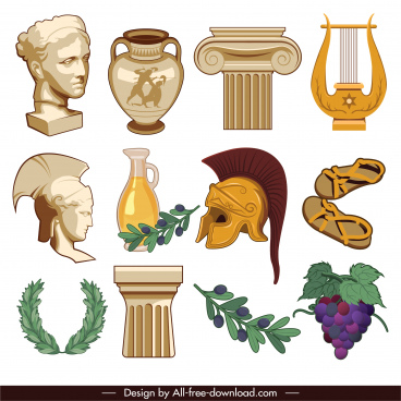 ancient greek icons objects tools plants sketch