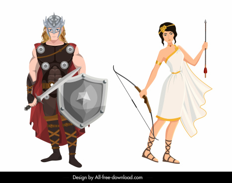 ancient greek people icons colored cartoon characters