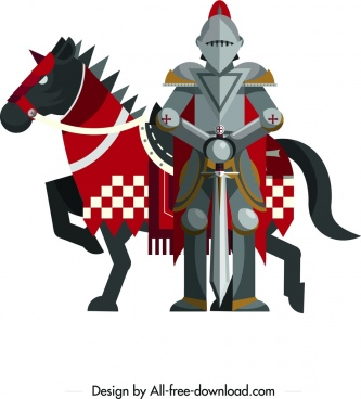ancient knight icon steel armor horse design